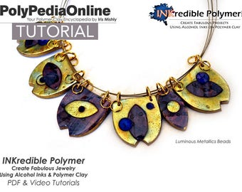 Polymer Clay, Polymer Clay Tutorial, Polymer Clay Jewelry, Jewelry Tutorial, Necklace Tutorial, DIY Handmade Bead, Alcohol Ink, Pattern