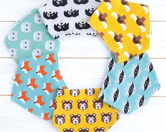 Bandana Dribble Bib - Baby Bandana Bib - Dribble Bib for Girl - Bandana Bib for Boy - Animal Dribble Bib  -Toddler Bandana Dribble Bib