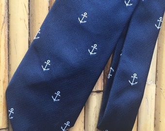 Vintage Pintail Preppy 80's Navy and White Anchor Print Tie