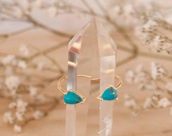 SALE Adjustable Turquoise Ring * Gold Vermeil Ring * Gemstone Ring * Wedding * Engagement * Handmade * Boho BJR018