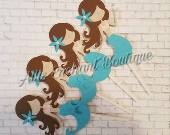 Mermaid Birthday cupcake toppers Under the Sea cupcake toppers Cute Mermaids Teal Mermaid Toppers