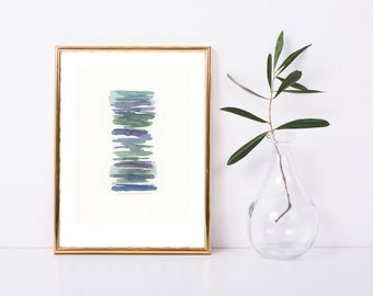 ORIGINAL abstract gouache painting, calm muted wall decor, 5x7 inch gallery wall art, purple green and blue peaceful art gift miniature