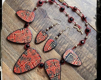 Red Black and Gold Fan Necklace, Statement Necklace, Red and Black Tribal Necklace and Earring Set, Polymerclay Jewellery, Made in Scotland
