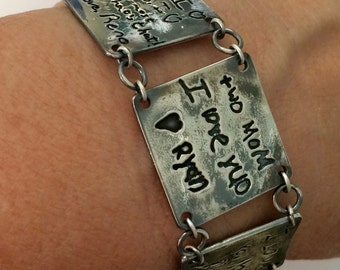 3 Panel Handwriting Message Bracelet - Silver 3 Tile Bracelet made from your loved ones actual writing