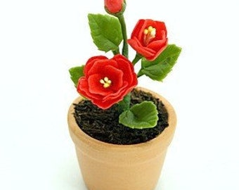Miniature Polymer Clay Flowers Supplies for Dollhouse and Handmade Gifts Camellia