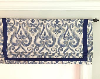 """SALE!!  Faux (fake) roman shade valance.  Lined and ready to ship.  Richloom Lascaux Blueston With Navy Ribbon.  35"""" Wide x 17"""" Long."""
