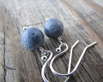 Blue Coral Earrings, small, simple, pale blue coral dangle earrings