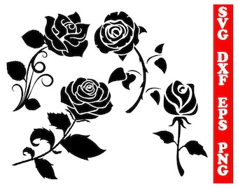 Rose svg, roses dxf, rose silhouette, roses clipart, svg shirts, scrapbooking svg, cricut files, flower svg, rose png, flower cut files, dxf
