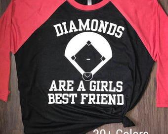 Diamonds are a Girls Best Friend, Baseball Shirt, Baseball Raglan Shirt, Mom Baseball Shirt, Baseball Tank Top, Racerback, Tote Bag