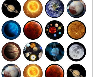 24 Precut 40mm Circle Planets Outer Space Solar System Themed  Edible Wafer Paper Cake Cupcake Toppers