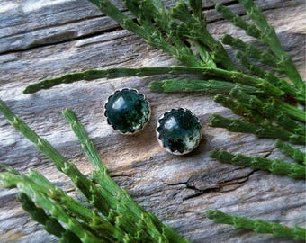 Moss Agate Stud Earrings 6mm Sterling Silver Green Stone Gemstone 925 Jewelry LunaMesaCo