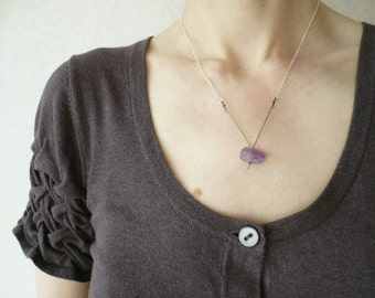 ON SALE. Facet - a Contemporary Gemstone Necklace in Amethyst and Sterling Silver by Kirsty O'Donnell