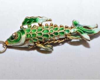 "Green Fish Pendent 1 3/4"",Cloisonne Enamel Articulated Vintage Chinese Export Sterling Silver ,Gold Wash"
