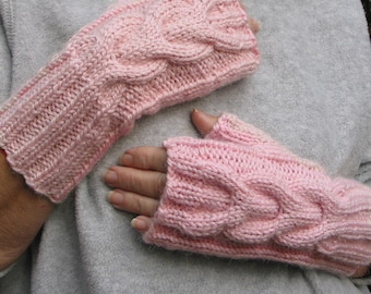 Pink Fingerless Texting Gloves - ALPACA Blend - Chunky Cable - Hand Knit - Matching Hat sold seperately