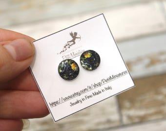 Earrings map of the world earrings stud earrings cute earrings globe jewelry globe earrings handmade acrylic earrings teeny tiny