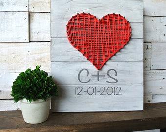 String Art Heart| String Art Heart Sign| Wooden Sign| Valentine's Day Gift| Wedding Gift| Anniversary Gift