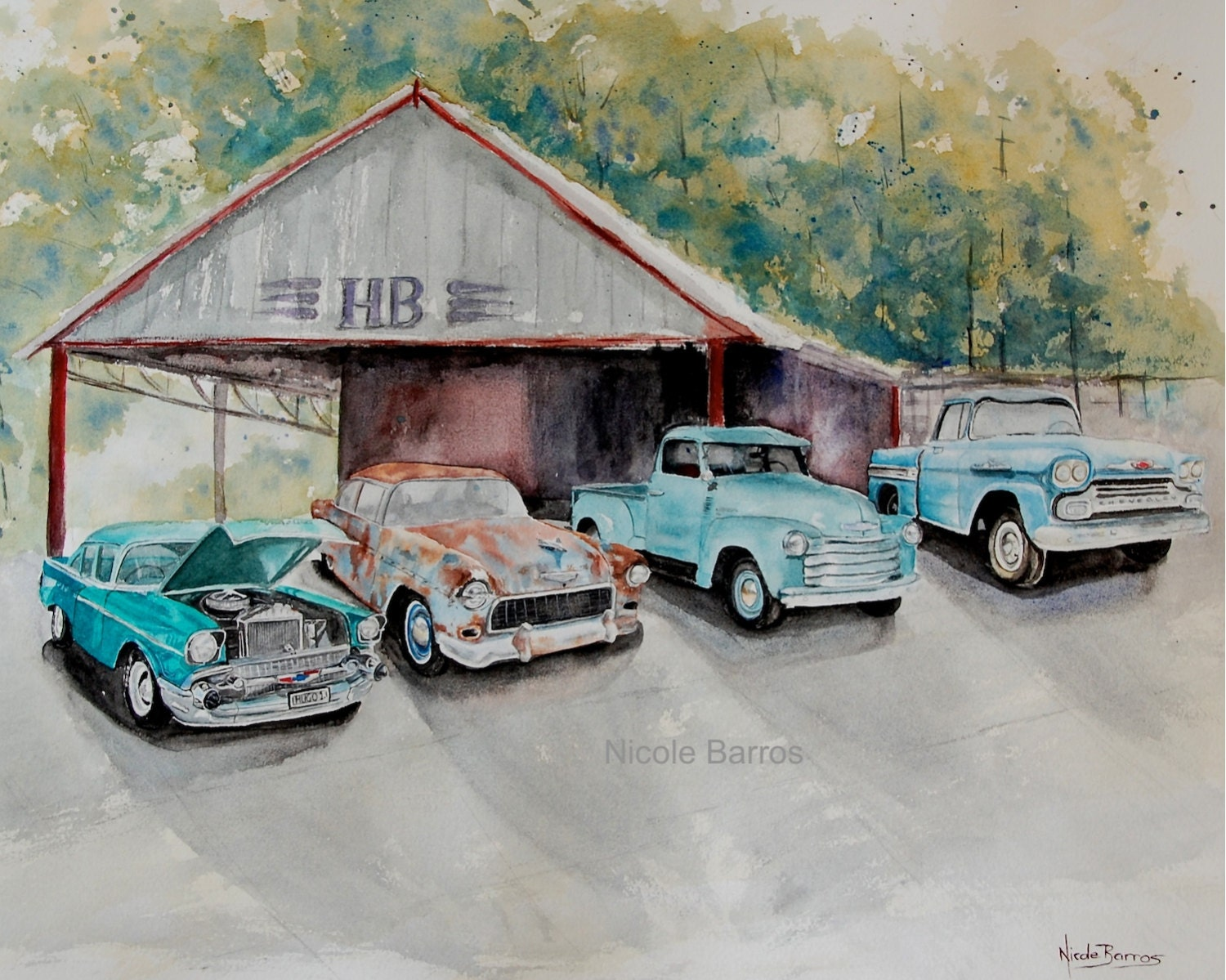 Vintage Chevy painting Chevrolet Cars Watercolour Painting
