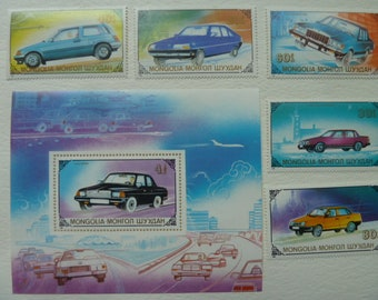 Cars- Lot of Vintage Postage Stamps With Cars From Monaco - for Collecting, Decoupage, Paper Crafts, Collage and More