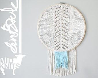 "DIY Knitting PATTERN - Chevron Fringe Dreamcatcher Inspired Wall Hanging  Size: 14"" diameter (2015010)"