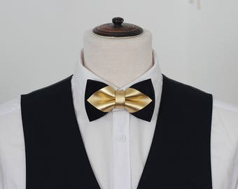 Navy blue and Gold mens leather bow tie for men, gold wedding bow tie, genuine leahther bowtie, gold bow tie, rustic bow tie, toddler, boys