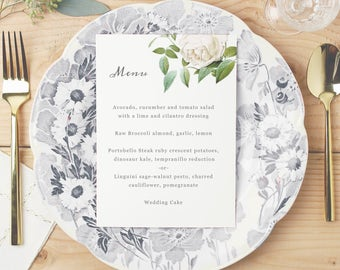 Printable Wedding Menu Template | INSTANT DOWNLOAD | Ivory Botanical | 5x7 | Mac or PC | Word & Pages