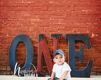 Baby, Toddler, Child, Birthday ONE Letters Image - Digital Backdrop Background for Photographers - First Birthday - Turning One JPG