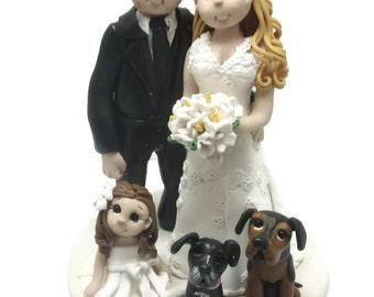 Custom cake topper, Family wedding cake topper, Bride and groom with children cake topper, Mr and Mrs cake topper, personalized cake topper