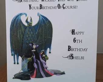 Handmade Personalised Birthday Card Maleficent Design -  Any Age