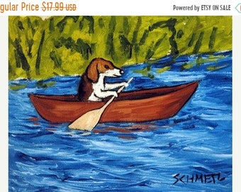 25% off beagle art - Beagle in a Canoe Dog Art Print - beagle gifts