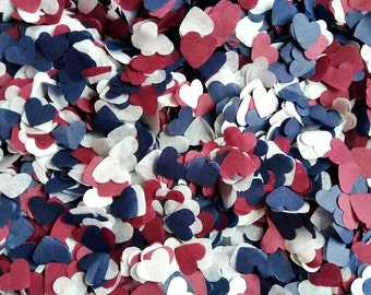 Handmade Navy, Marsala and White Tissue Paper Heart Confetti Wedding Party