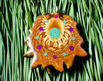 Beautiful TURQUOISE And SUGALITE INLAY (Med) Third Eye Pinecone Talisman Necklace