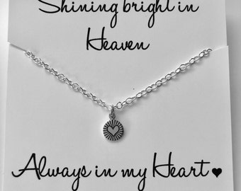 Miscarriage Necklace, Infant Loss Jewelry, Heart necklace, Sympathy gift, Shine bright in Heaven