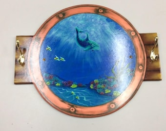 Painted Plaque with Marine Theme with Hooks