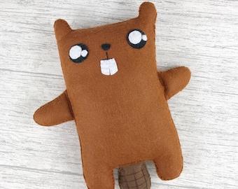 Beaver plushie, stuffed beaver toy, beaver birthday gift, soft toy, stuffed doll, cute decor, cute plushie