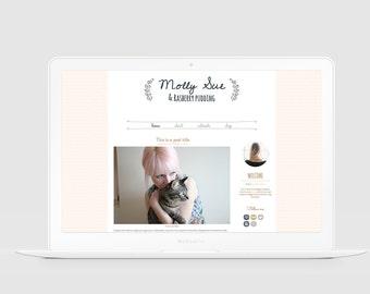 Premade WordPress Theme — Responsive Blog Design — Chic Blog Template — Girly Blog Design — Cute WordPress Template — Blush & Gold / Molly