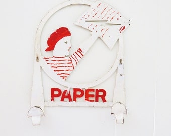 Vintage Art Deco Metal Newspaper Sign - Holder Red and White