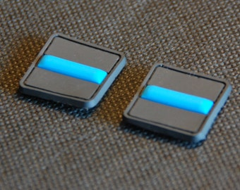 Two Tactical Police Law Enforcement Thin Blue Line United States Flag hook/loop PVC Patch