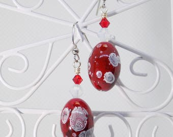 Red Earrings, Red Dangle Earrings, Red and White Dangle Earrings, Unique Beaded Earrings, Handmade Beaded Red Earrings, Unique Jewelry