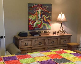 Custom Rag Quilt-Made to order quilt, Design your own Quilt, You pick the fabric quilt, Made the way you want quilt, Queen Quilt, King Quilt