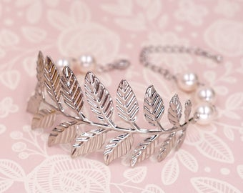 Silver Olive Leaf Bracelet, Pearl beaded, Fern Branch simple rustic vintage garden weddings bridal shower Bridesmaids gifts B84