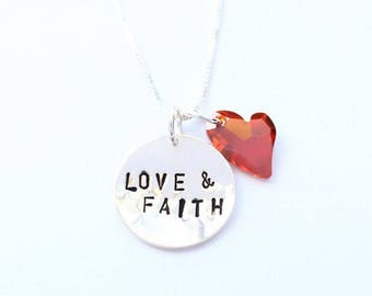Sterling silver hand stamped LOVE and FAITH pendant necklace with Swarovski heart crystal charm