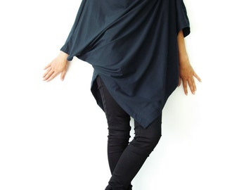 NO.63 Midnight Blue Cotton Jersey Asymmetrical Tunic Top, Loose Fit Top, Cowl Neck Top