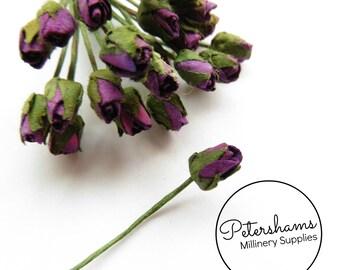 24 Super Mini Paper Rosebud Flower Wired Picks for Millinery - Bright Plum