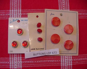 3 Vintage Cards of Buttons, Shades of Red, Plastic Shanks, JHB, Jan, LeBouton, Plastic, Button Lot 672, Fancy