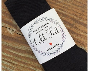 Laurel Wreath - Just in case you get cold feet: sock label, sock wrapper, for the groom, INSTANT DOWNLOAD