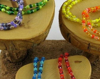 7  1/2 inches Popsicle Flavors set of twelve fun colorful stretchy seed bead bracelets size large
