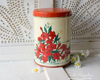 Vintage Red Floral Metal Cannister - Kitchen - Tin - NC Colorware - 1950's Kitch