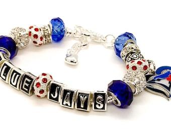 TORONTO BLUE JAYS jewelry bracelets, necklaces all inspired handmade