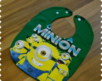 One In A Minion Baby Bib, Recycled T-Shirt Baby Bib, Gender Neutral Baby Gift, Baby Shower Gift, New Baby Gift