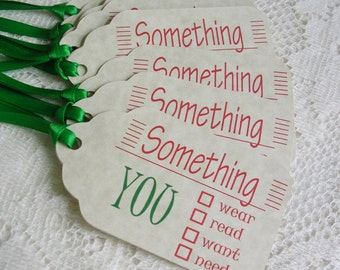 Christmas Gift Tags - Large Something You Want, Need, Wear, Read Holiday Tags - Package Decorations - Set of 8 Double Layer Handmade Tags